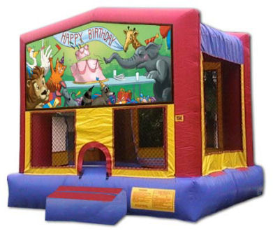 15' x 15' Animal Happy Birthday MoonBounce, Bounce House or Moonwalk Rental